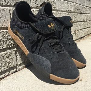 Adidas 3ST.003 Black, Gold, and Gum Shoes